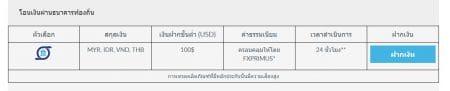 การฝากเงิน FXPRIMUS forex